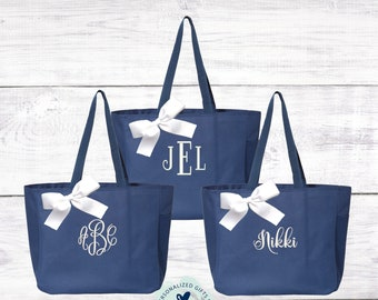 Navy Bridesmaid Bag, Personalized Tote, Bridesmaids Gift, Maid of Honor Gift, Bridesmaids Gift, Monogram Tote EDT1
