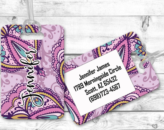 Purple Paisley Airport Bag Tag, Luggage Tag, Personalized Bag Identifier Tag, Gift For Wanderlust