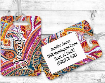 luggage tag, personalized luggage tags, bag tag, carry on bag tag, custom tag, destination bridesmaid gift Paisley