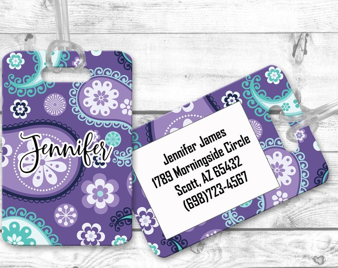Purple Paisley Luggage Tag, Travel Bag Tag Identifier, Personalized Bag Tag, Custom Luggage Tag, Bechelorette Party Favor