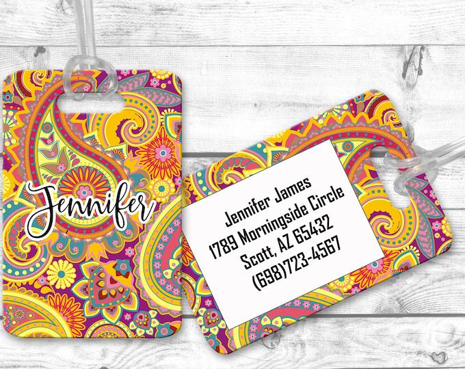 luggage tag, personalized luggage tags, bag tag, carry on bag tag, custom tag, destination bridesmaid gift paisley