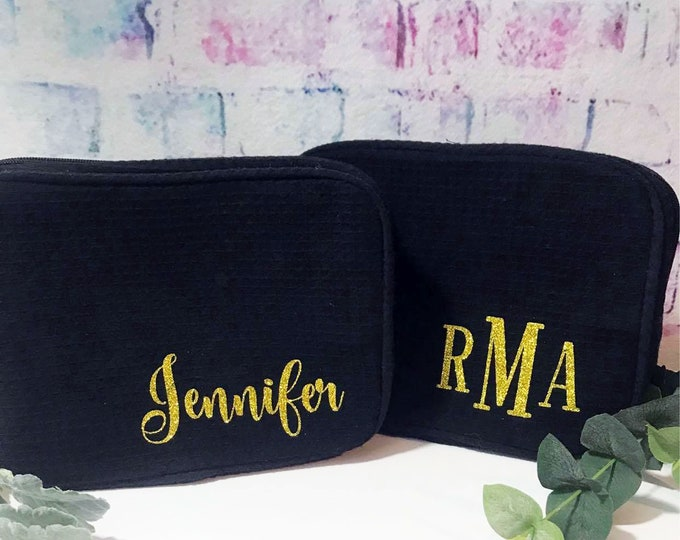 Makeup Bag, Choose your Color Cosmetic Case, Bridesmaid Gift for her,  Christmas Gift of Teen Large Waffle Cosmetic Bag, Toiletry Bag
