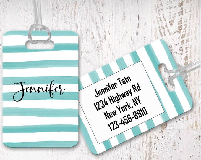 Personalized Metal Luggage Tag, Custom Luggage Tags, Bridesmaids Gifts, Bag Tag for globetrotter, Monogram Gift for Her Vacation Travel LG17