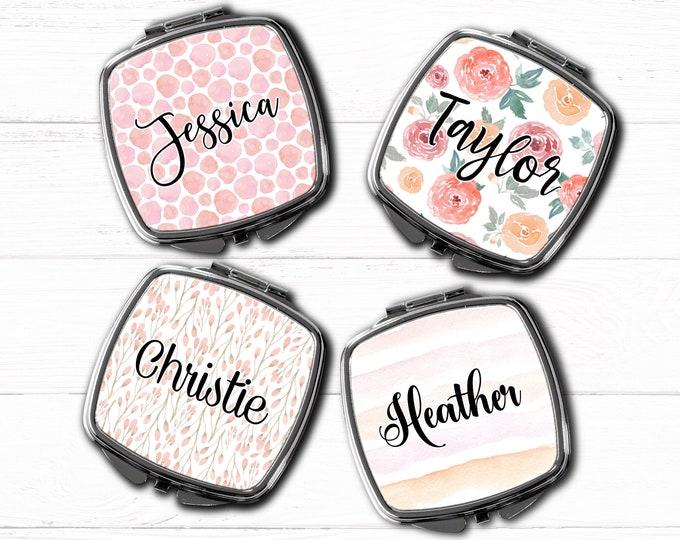 Bridesmaid Gift pocket mirror, compact mirror, personalized mirror, monogrammed gift, purse mirror, bridesmaids gifts