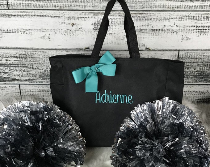 Set of 10, Cheerleader Team Bags, Dance Team Bag, Personalized Bag, Monogrammed Tote, Custom Embroidered Tote bags, Cheer team gift (ESS1)
