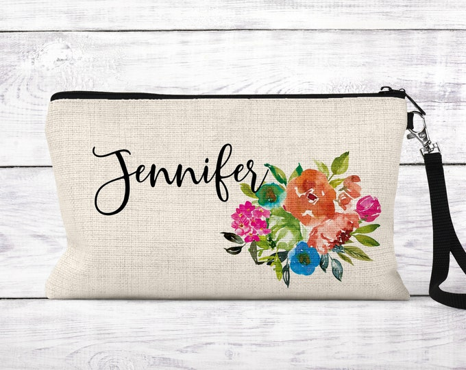 Makeup bag, Bridesmaid gift, Cosmetic bag, personalized makeup bag COS- DES5