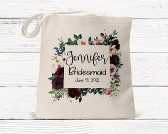 Bridesmaid Tote Bags, Burgundy and Blush Floral,  Maid of Honor Tote, Personalized Bridesmaid Bags, Bridal Party Gifts, Gift for her (SUB1)