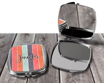 Bridesmaid Gifts, Striped Design Compact Mirror, Purse Mirror, Gift for Her, Monogrammed Mirror, Makeup Mirror, Design COM8