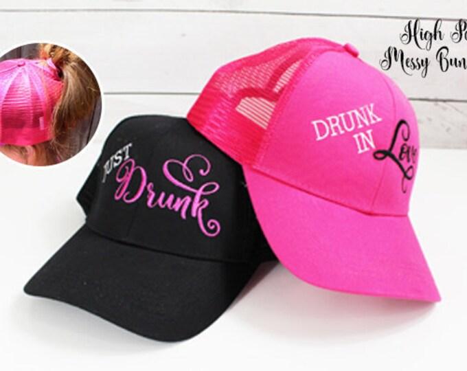 Bachelorette Party Hat, Messy Bun Hat, high Pony Hat