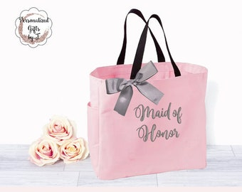 Maid of Honor Gift, Bridesmaid Tote, Mother of the Bride/ Mother of the Groom, Matron of Honor, Bride Gift Tote Bag, Embroidered Bag