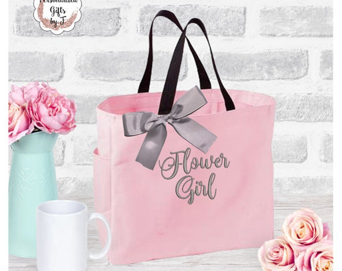 Flower Girl Tote Bag Bridesmaid Maid of Honor Gift Mother of the Bride Mother of the Groom Matron of Honor Bride Gift Tote Bag Embroidered
