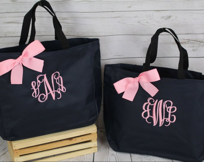 Set of 9 Monogrammed Bag, Bridesmaid Gift, Tote Bag- Wedding Party Gift- Bridal Party Gift- (ESS1)