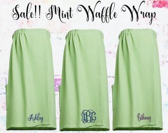 Sale** Mint Waffle Spa Wrap, Towel Wrap, Gift under 20,