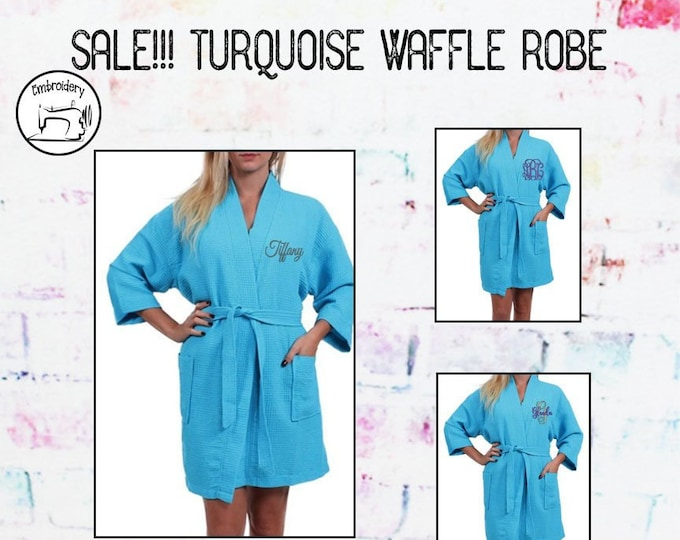 SALE!!! Turquoise Waffle Robe, Monogrammed Gift, Personalized Robe, Teen gift, Womens gift under 20