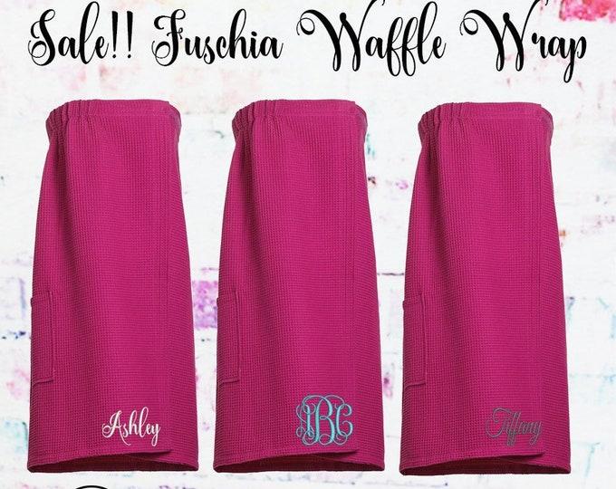 Sale** Fuschia Waffle Spa Wrap, Towel Wrap, Gift under 20,