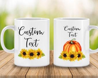 Fall Mug, Sunflower and Pumpkin Fall Coffee Cup