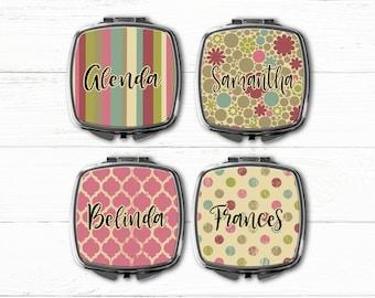 Bridesmaids Gift Compact Mirror, Makeup mirror, Bridesmaid personalized gift, monogrammed pocket mirror