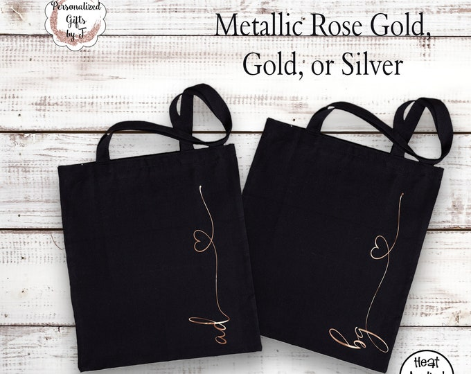Rose Gold Tote Bag Cotton Canvas Bridesmaid Gift 2 letter Monogram Gold Bag Metallic Silver Bridesmaids Tote Sister Gift for her Lightweight