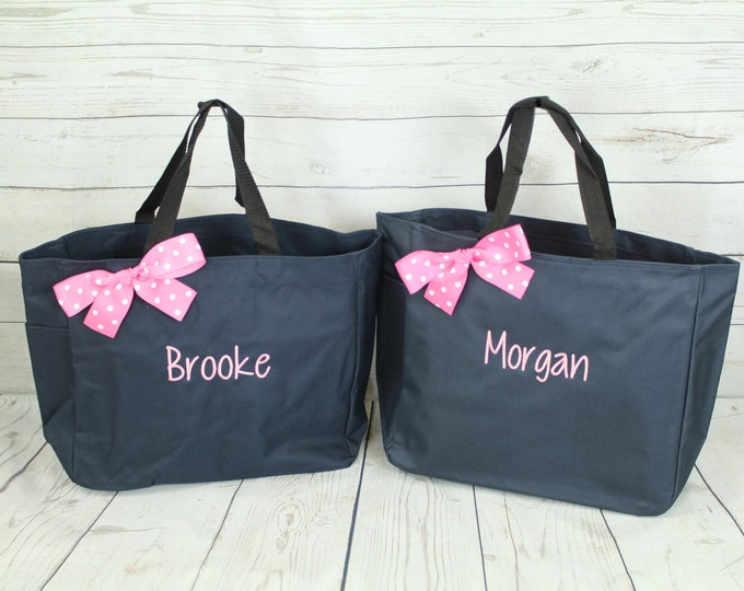 Set of 4, Personalized Bridesmaid Bag, Personalized Tote Bag, Bridesmaid Gift, Monogram Tote, Gift for Mom, Beach Tote, Wedding Tote (ESS1)