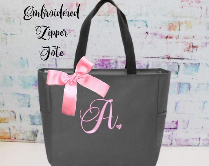Monogrammed Bag, Zippered Personalized Tote, Initial Tote Bag, Bridesmaid Gift