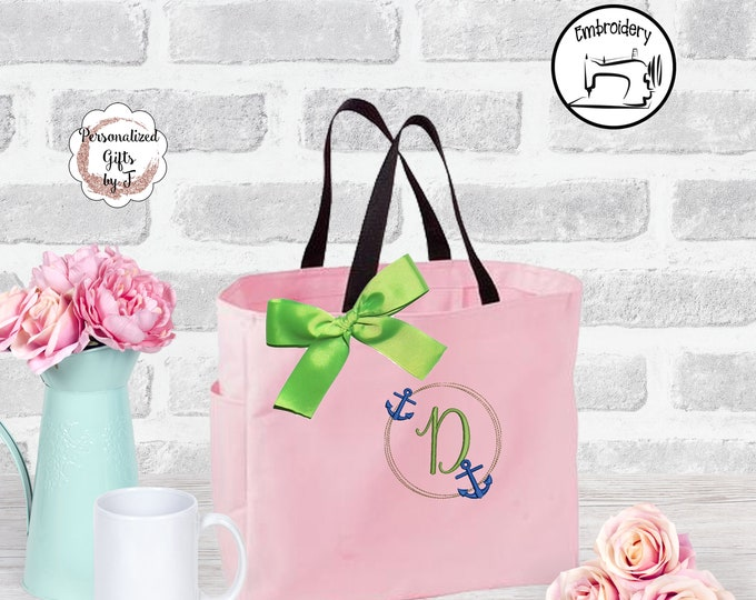 Monogrammed tote bag initial tote anchor monogram Gift for her bridesmaid Beach wedding tote design16