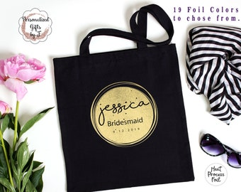 Bridesmaid Tote Gift Tote Gold Rose Gold Silver Foiled Lightweight Tote Design f12
