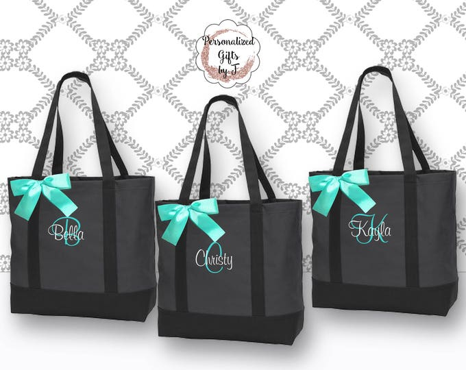 Personalized Tote Bag, Bridesmaids Gift, Monogrammed Tote, Maid of Honor Tote Bag, Wedding Day Tote