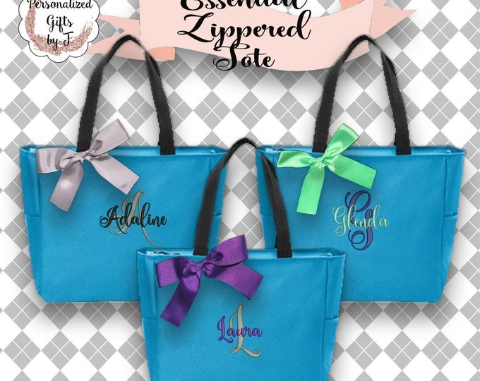 Bridesmaids Gift Set Of 6 Personalized Zippered Tote bag, Wedding Party Gift Bridal Party Gift Monogrammed Tote Wedding Day Of Bag ESZ1