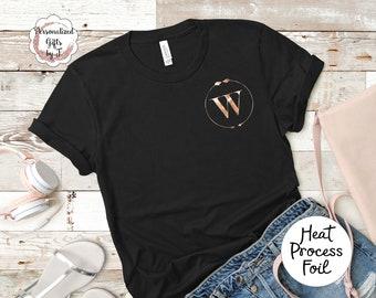 Rose gold Foil Metallic Arrow Monogrammed T shirt