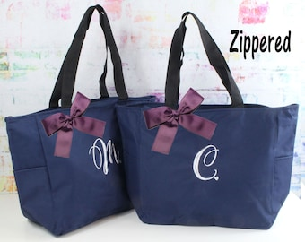 Monogrammed Bag, Zippered Personalized Tote, Initial Tote Bag, Bridesmaid Gift (MHZ1)