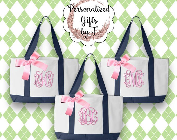 Set of 7 Personalized Bridesmaid Totes, Gift for Mom, Monogrammed Tote Bags, Personalised Totes, 2 Color, Wedding Bag, Bridesmaid Bag (TT1)