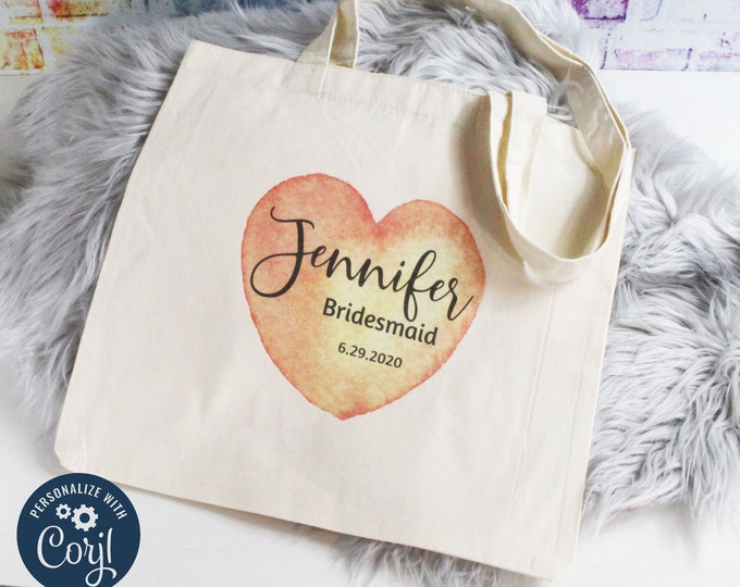 New! Personalized Bridesmaids Gift Tote Bags, Design Your Own with Corjl Nt2