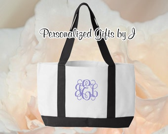 Personalized Embroidery Monogrammed Bridesmaid Gift 2 Tone Tote, Embroidered Tote, Monogrammed Tote, Bridal Party Gift