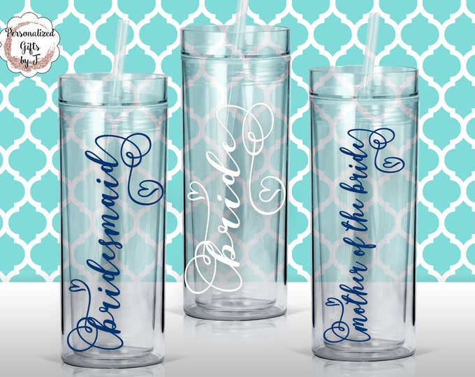 Personalized Bridesmaid Tumblers Glass Set of 1,2,3,4,5,6.. Personalized Tumbler, Bridesmaid Gift, Bachelorette Party, Bridesmaid Glass #101