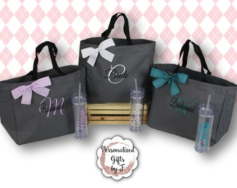 Set of 6 Bridesmaid Gift Tote and Tumbler Set, Personalized Wedding  Bags and Tumblers, Embroidered - Maid of Honor Gift, Skinny Tumbler