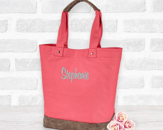 Personalized Vegan Leather and Canvas Tote bag, Monogrammed Canvas Tote, Custom Tote Bag