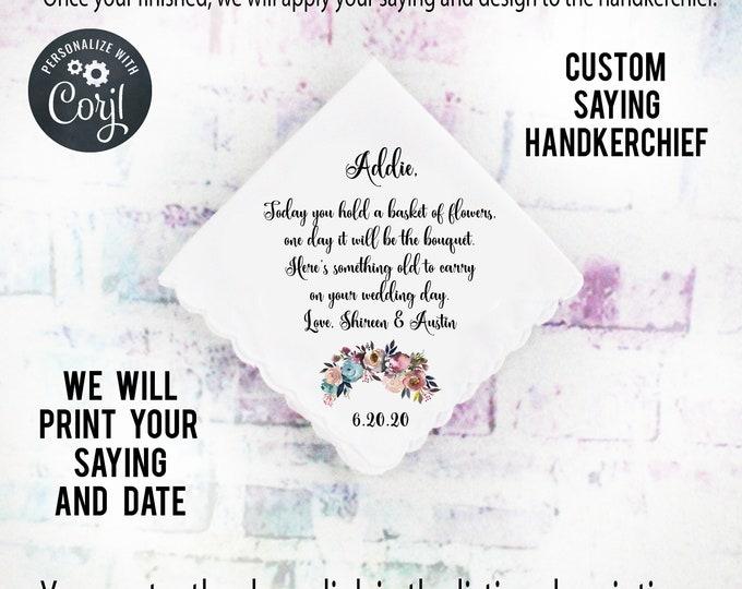 Flower Girl Gift, Custom Handkerchief, Wedding Hanky custom Text Hanky, Mother of the Groom Hanky, Grandmother Gift Mother of the Bride ipb4