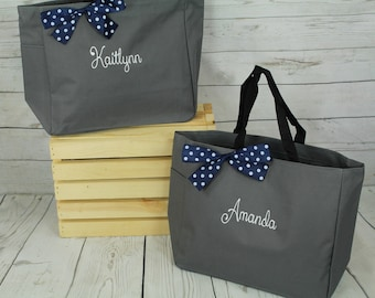 7 Personalized Bridesmaid Gift Tote Bags Personalized Tote, Bridesmaids Gift, Monogrammed Tote, Maid of Honor Tote Bag, Wedding Day Tote