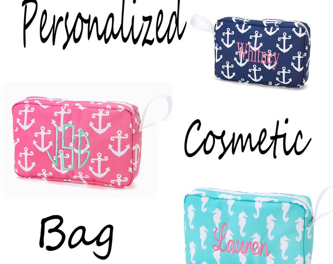Personalized Cosmetic Bag, Gift for her, Bridesmaid Gift, Toiletry bag, Monogrammed Cosmetic Case, Anchor Gift