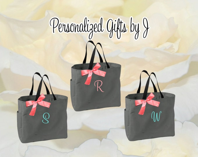 5 Personalized Bridesmaid Gift Tote Bags, Embroidered Tote, Monogrammed Tote, Bridal Party Gift, Bridesmaids Gifts, Wedding Day Tote Bag
