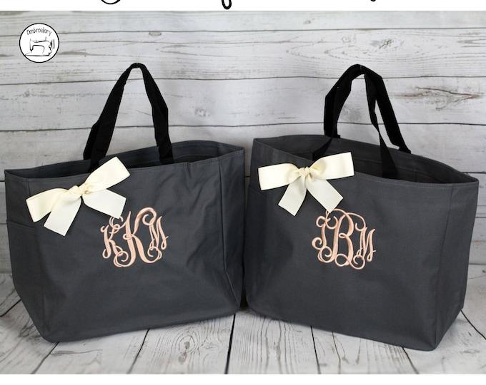 Set of 3 Monogrammed Totes, Custom Tote Bags (ESS1)