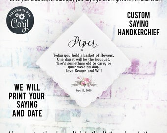 Flower Girl Gift, Custom Handkerchief, Wedding Hanky custom Text Hanky, Mother of the Groom Hanky, Grandmother Gift  Corjl 5