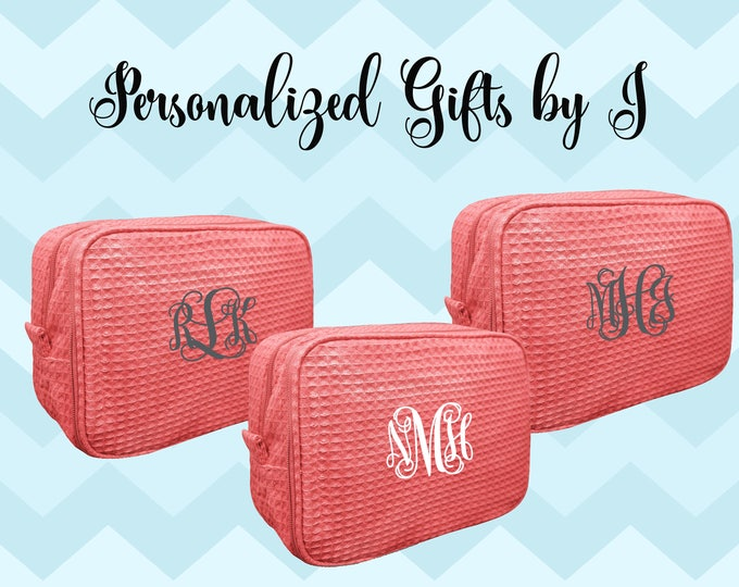 Coral Bridesmaid Makeup Bag, Bridesmaid Waffle Cosmetic Bags, Bridal Party Gift, Bridesmaids Bag, Personalized Bridesmaid Gifts, Monogrammed