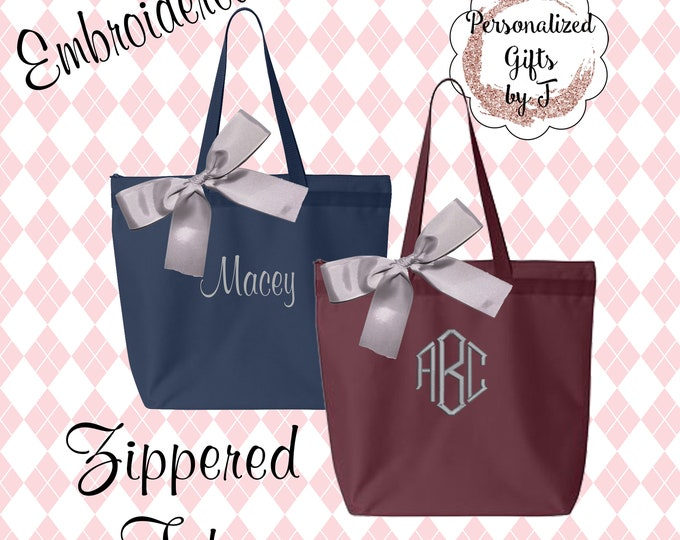 10 Wedding Totes, Bridesmaids Gift Zippered Tote Bags, Monogrammed Tote, Bridesmaids Tote, Personalized Tote, Bridesmaid Bags (OSZ1)
