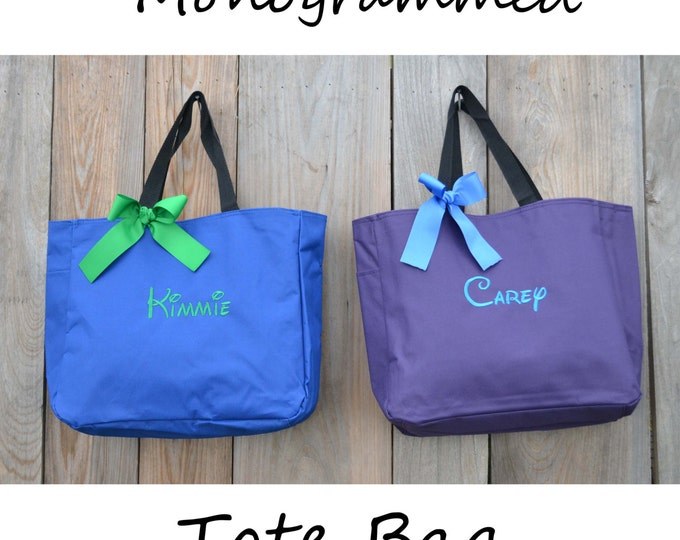 8 Personalized Bridesmaid Gift Tote Bag, Wedding Day Totes, Maid Of Honor Gifts, Bridesmaids Bag, Monogrammed Tote Bag, Bridesmaid Tote