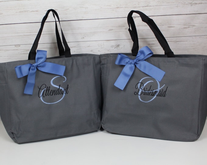Bridesmaid Tote Bags, Personalized Wedding Tote, Bridesmaids Gift, Attendant Gift Personalized Tote, Bridesmaids Gift, Monogrammed (ESS1)