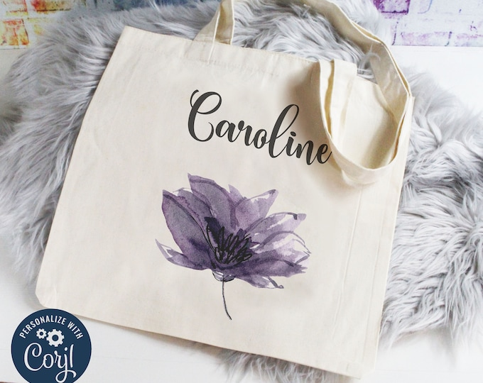 New! Personalized Bridesmaid Gift Tote Bag, Personalize Your Own with Corjl Amethyst