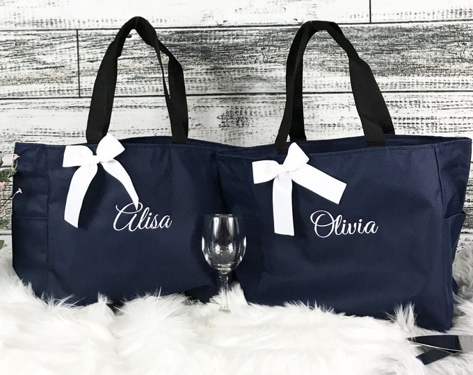 11 Bridesmaid Totes, Personalized Gift Bags Personalized Tote, Bridesmaids Gift, Monogrammed Tote, Maid Of Honor Gifts, Wedding Day (ESS1)