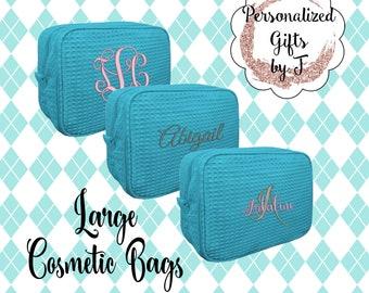 Turquoise Make up Bag Personalized, Makeup Bag, Cosmetic bag, Waffle Make up Bag, Bridesmaid Gifts, Waffle Cosmetic Bag, Personalized Bridal