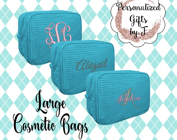 Turquoise Make up Bag Personalized, Makeup Bag, Cosmetic bag, Waffle Make up Bag, Bridesmaid Gifts, Waffle Cosmetic Bag, Personalized Bridal